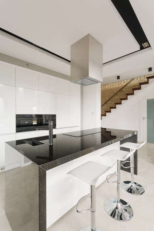 Black and white stylish kitchen in luxury residence