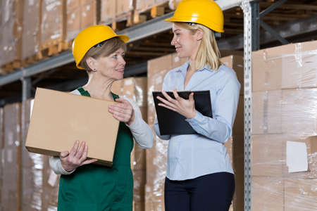 supervision: Female engineer talking with mature storage worker