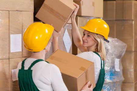 storehouse: Horizontal view of women working in storehouse