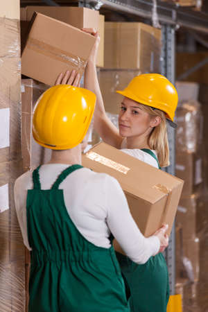 stockroom: Image of female storage workers in warehouse