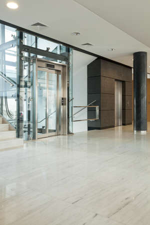Interior of modern business building having elevator