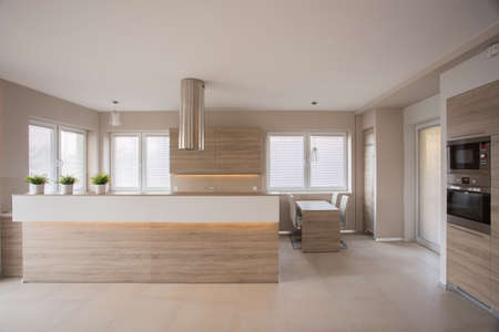 Beige kitchen interior in modern luxury house