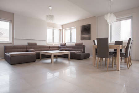 commodious: Exclusive interior in beige and brown design Stock Photo
