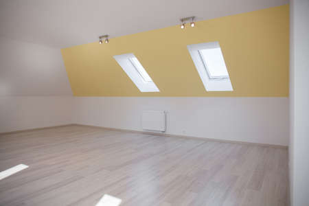 attic: Spacious room in the attic with sloped ceiling