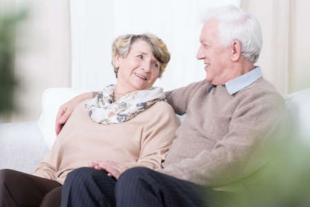 Senior people having romance in old age