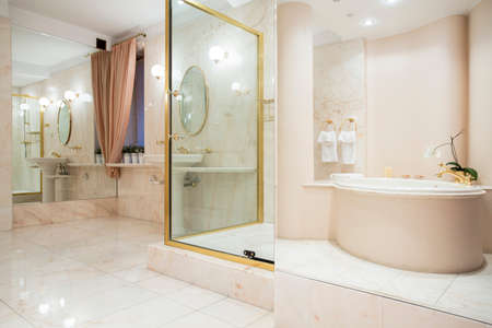 enormous: Two big mirrors in enormous luxury bathroom Stock Photo