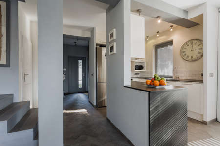 Anteroom and kitchen in modern luxury house photo