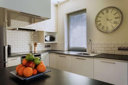 worktop: Plate of fruits on the kitchen worktop