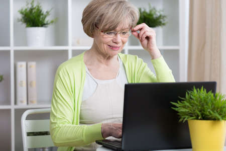 old lady: Beauty mature woman chatting on the Internet