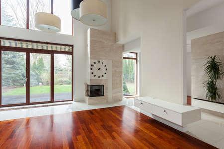 新しい排他的なリビング ルームの家具スペース 写真素材