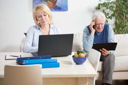 work from home: Senior businesspeople during their work at home