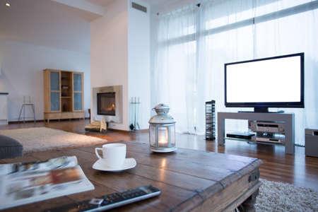 tv: Petite salle de cinéma à domicile en grand salon Banque d'images
