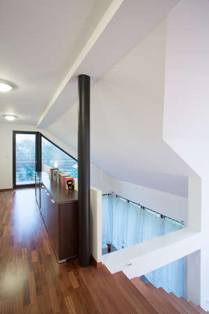 anteroom: View of wooden corridor with stairs in new modern house
