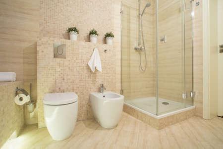 baño: Ducha con puerta de cristal en el baño de lujo moderno Foto de archivo