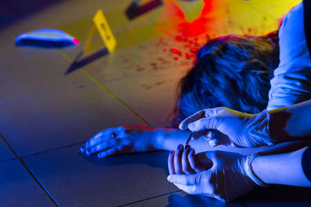 Collection of evidence in crime scene investigation Stock Photo