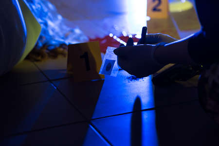 murder scene: Close-up of forensic scientist preventing evidence of crime