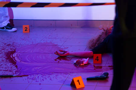 murder scene: Picture of murder scene with killed woman