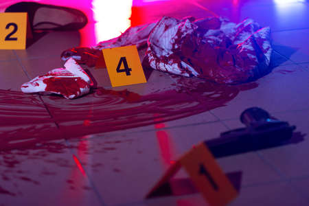 forensic medicine: Horizontal view of bloody evidences of crime