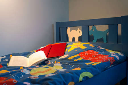 bedding: Color bedding on the bed in kids room