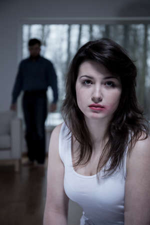 Portrait of crying woman who is living with aggressive husband