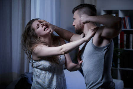 terrified: Young marriage terrible fighting with fists