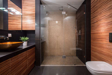 shower: Picture of wooden details in luxury bathroom Stock Photo