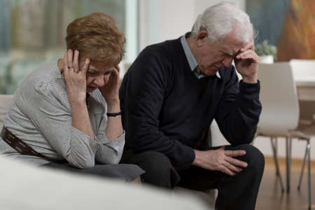 Photo of two elderly people having conflict in marriage Stock Photo