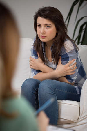 Treatment of depression by therapy Stock Photo