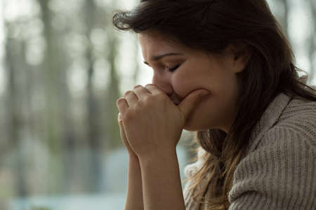 psychoanalysis: Young woman with emotional breakdown