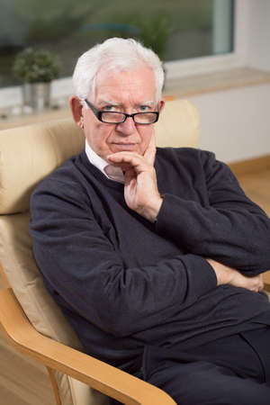 practiced: Portrait of professional psychoanalyst at his office Stock Photo