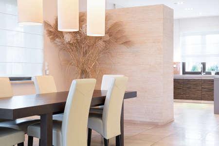 parter: Elegant bright dining room at luxury interior Stock Photo