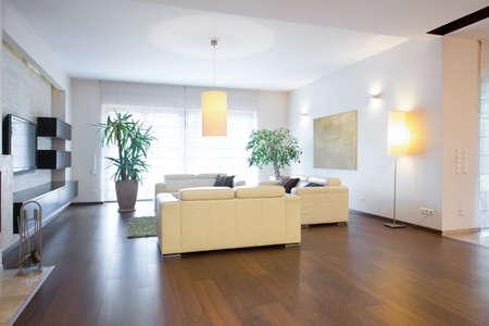オーク材の床と現代的なリビング ルーム