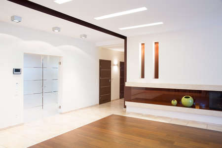 parter: Bright spacious corridor with fireplace