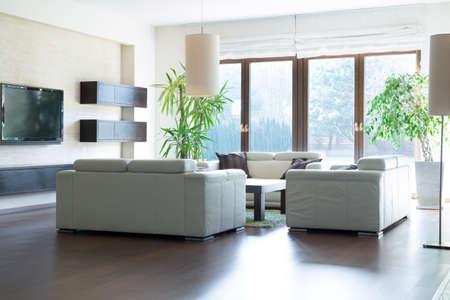ventana abierta interior: Amplio salón con salida al jardín
