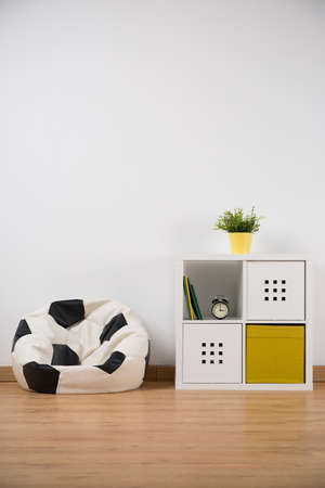 Ball shape sofa and designed cupboard in boys room