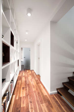 furniture home: Wooden floor and white wall in long corridor
