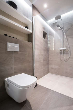 a toilet seat: Beige clean toilet interior in modern house