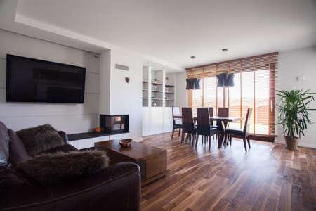 drawing room: Wooden floor in cozy drawing room interior Stock Photo