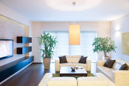 Stijlvolle moderne tv-kamer met comfortabele bank Stockfoto