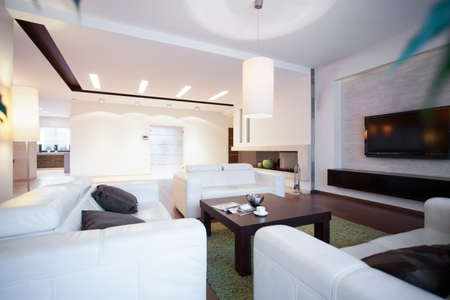 Comfortable white couches and wooden coffee table photo