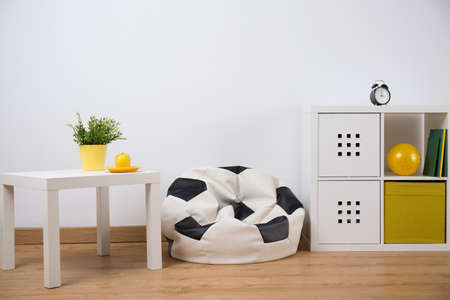 Horizontal view of teenage boy room design
