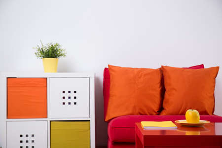orange color: Horizontal view of interior design for teenage bedroom