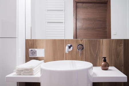 new home: Close-up of porcelain washbasin in elegant toilet Stock Photo