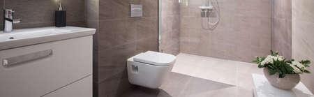 Panoramic view of beige elegant washroom interior