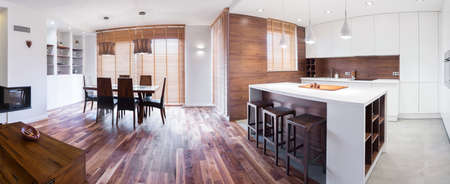 detached: Interior view of wooden elegant detached house Stock Photo