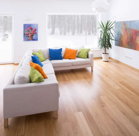 Bright spacious living room with wooden parquet