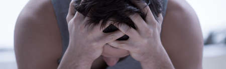 sleepless: Close-up of young frustrated man after sleepless night Stock Photo