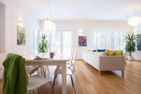 uvnitř: Nepořádek v prostorném obývacím pokoji v dopoledních hodinách Reklamní fotografie