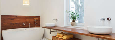 wall mounted: Panoramic view of modern bathroom in african style