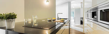 Panoramic view of countertops in designed kitchen Stok Fotoğraf